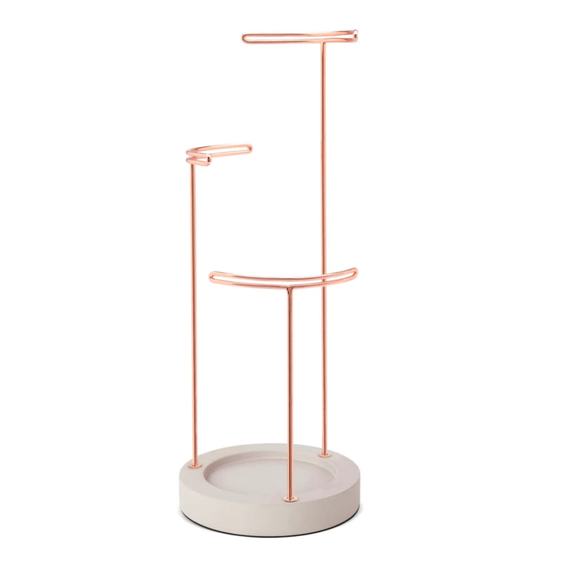 Umbra Tesora jewelry stand, concrete - copper