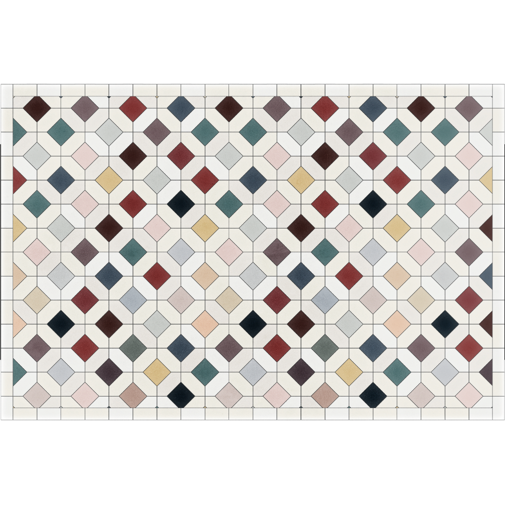 Podevache Vinyl floor mat 49.5 * 83cm, colorful tile