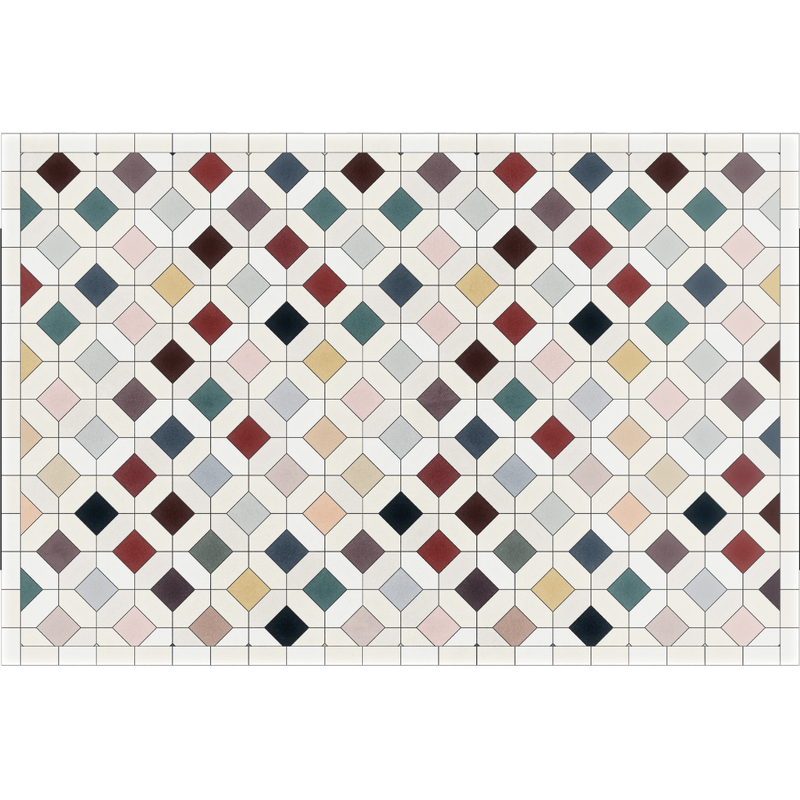 Podevache Vinyl Floor Mat Colorful Tile 49.5x83cm