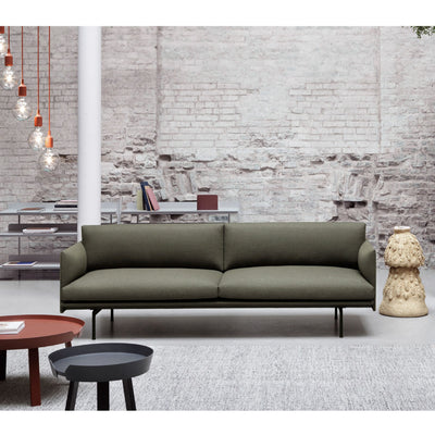 Muuto Outline sofa, 3-seater, fiord 961, black steel leg