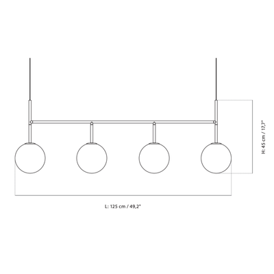 Menu TR Bulb Suspension Frame pendant lamp 125*45cm, black