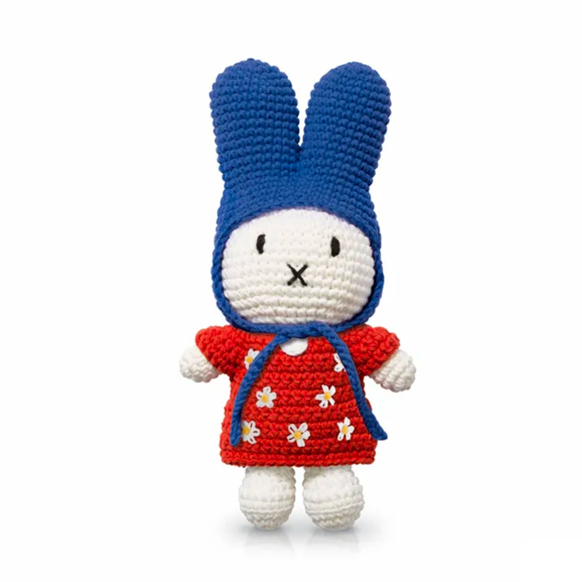 Just Dutch handmade doll, Miffy and her red flower dress - blue hat