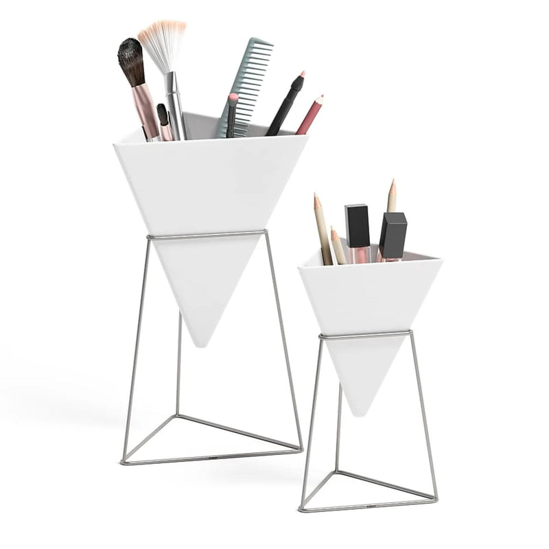 Umbra Trigg tabletop vessel, white - nickel
