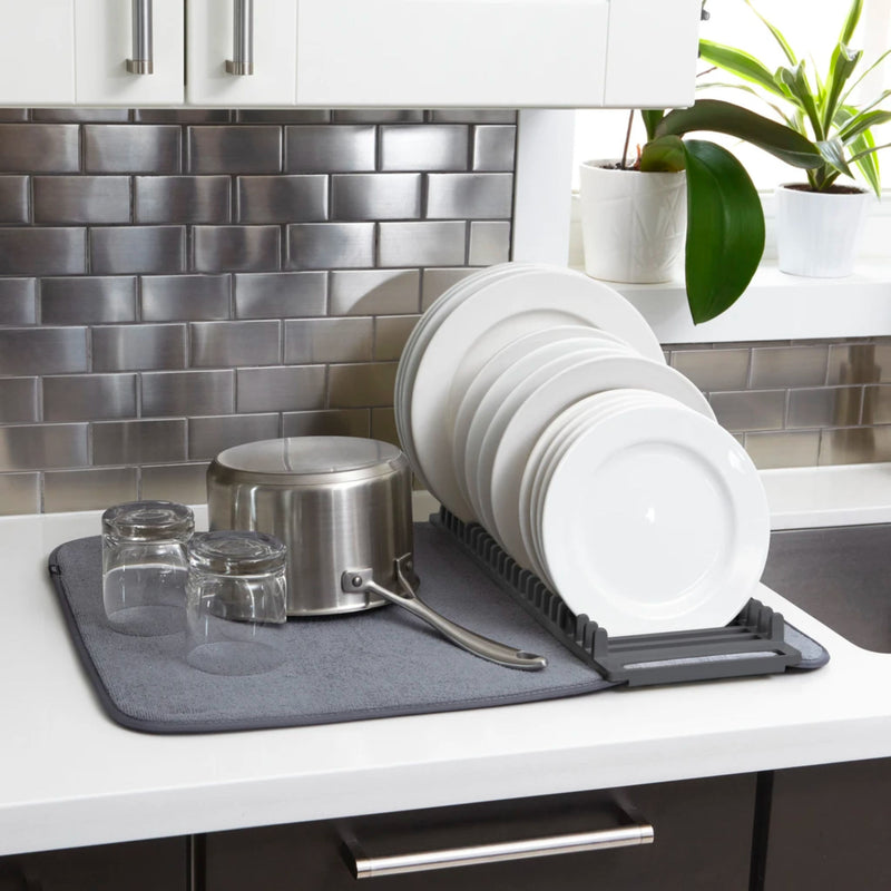 Umbra Udry dishrack with dry mat, large, charcoal