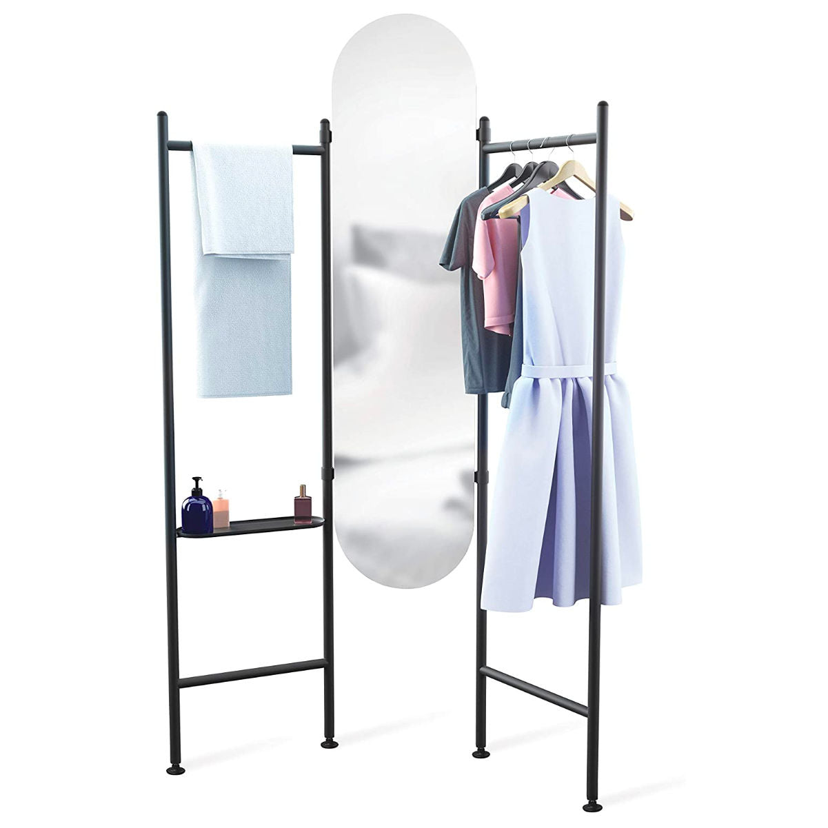 Umbra Vala floor mirror and hanger, black