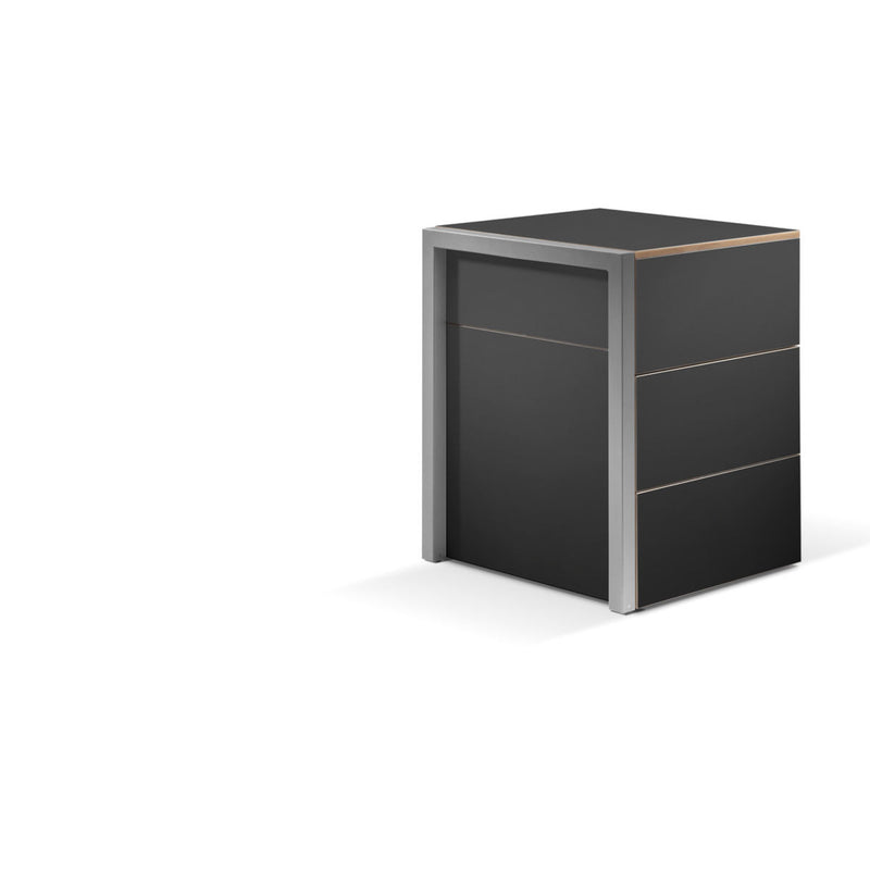 Alwin's Space Box Extendable Table Drawers , Super Matte Black/Beech Laminated Veneer