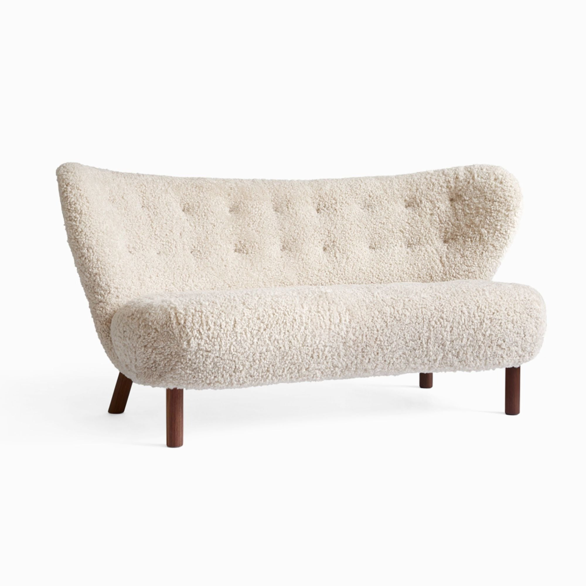&Tradition VB2 Little Petra 2 Seater Sofa , Sheepskin Moonlight/Walnut Base