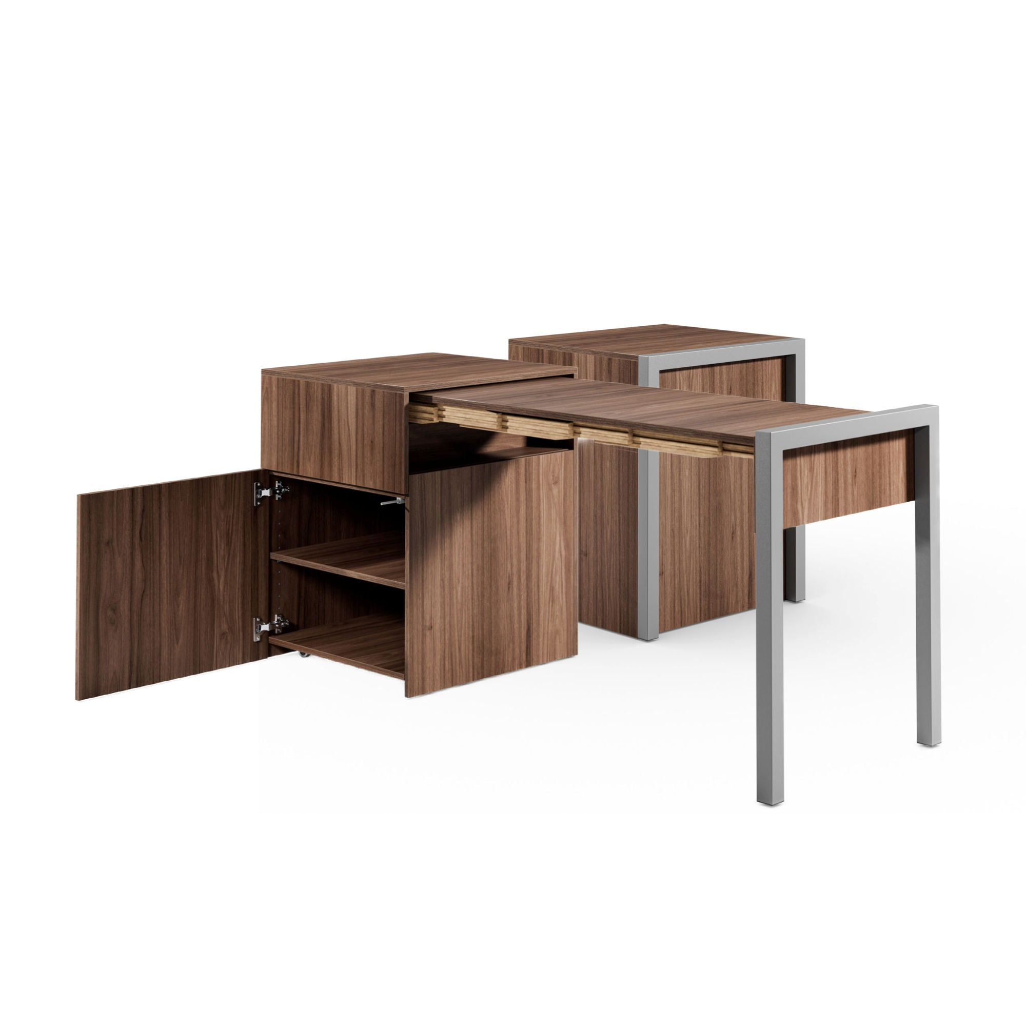 Alwin's Space Box W. Door Extendable Table , Walnut/Walnut