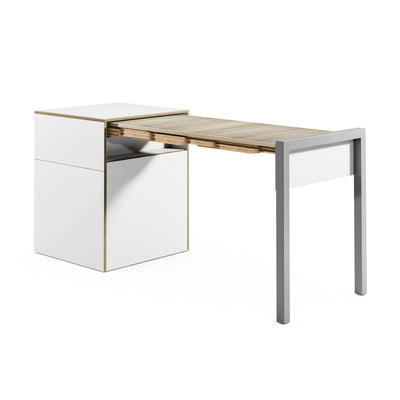 Alwin's Space Box W. Door Extendable Table , White/Platinum Vintage Oak