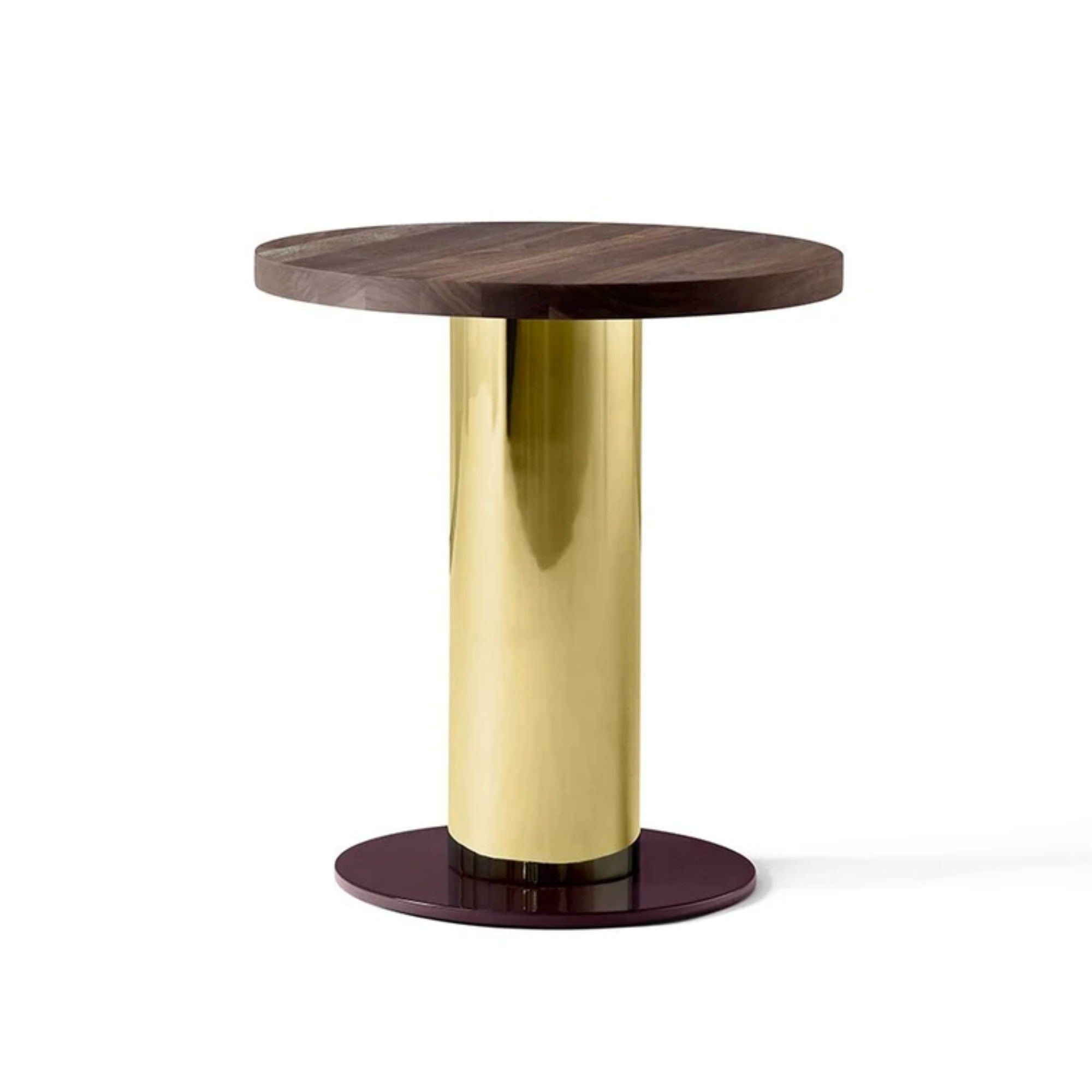 &Tradition JH19 Mezcla Side Table Ø42 , Walnut/Brass/Burgundy
