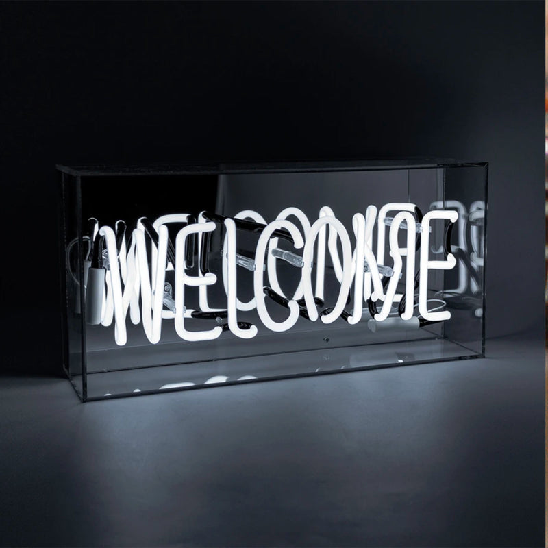 Locomocean White Welcome Acrylic Box Neon Light