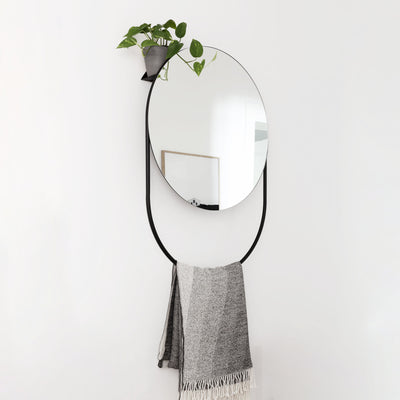 Woud Verde Mirror , Black Painted Metal