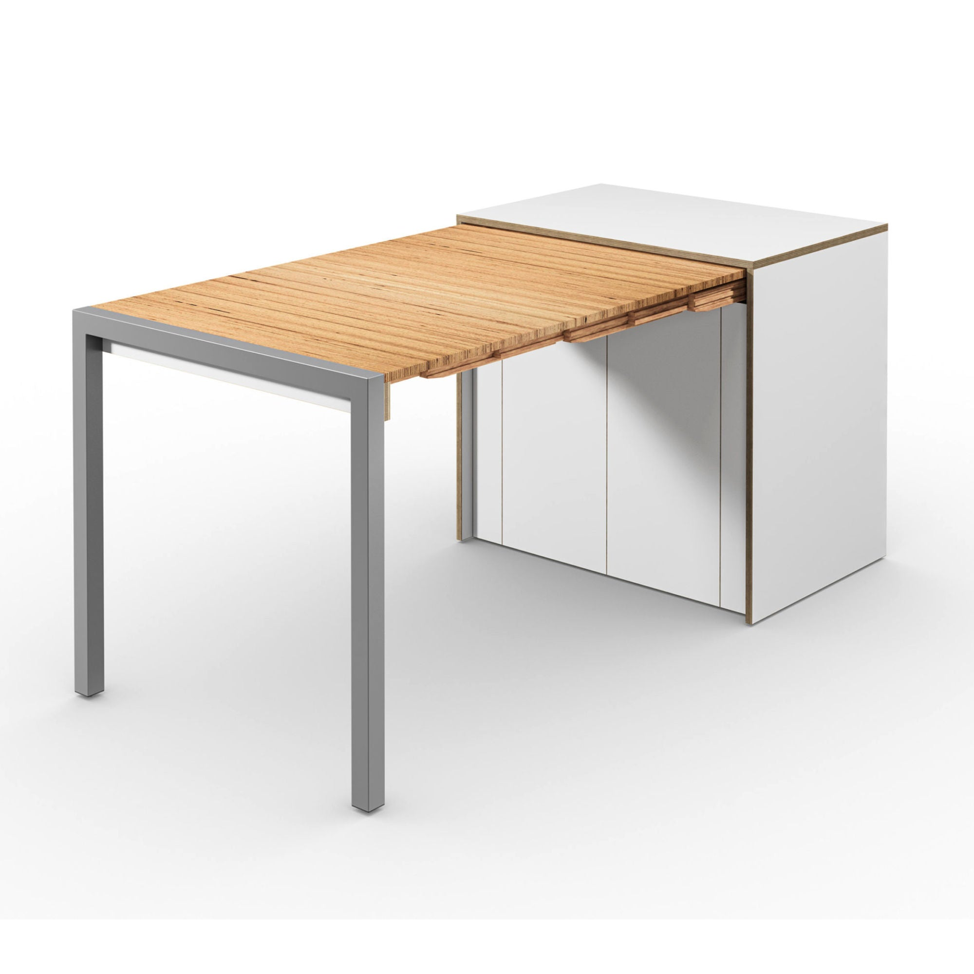 Alwin's Room&Board Extendable Table Sideboard , White/Beech Laminated Veneer