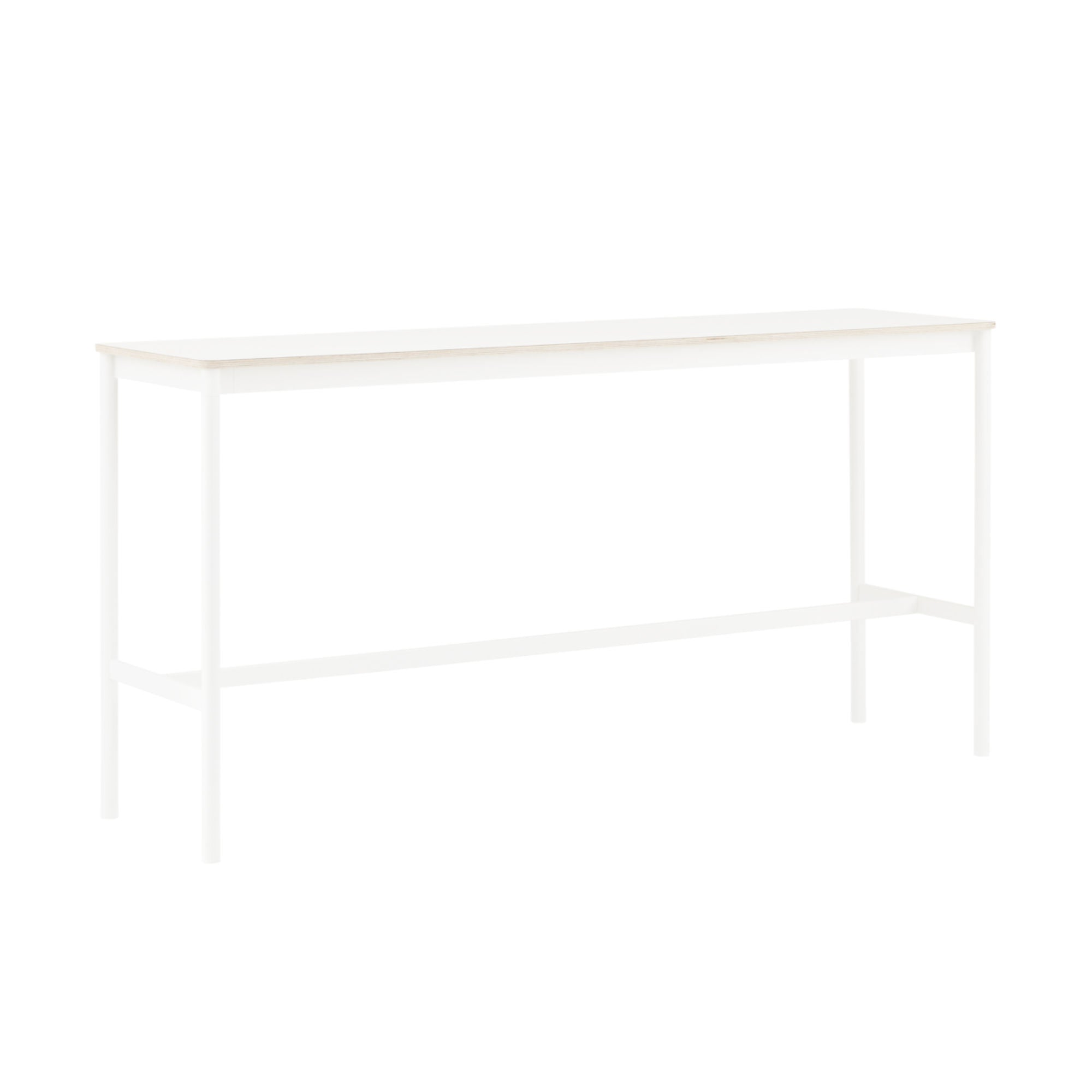 Muuto Base High Table 190x50 h:95cm , White Laminate/Plywood/ White