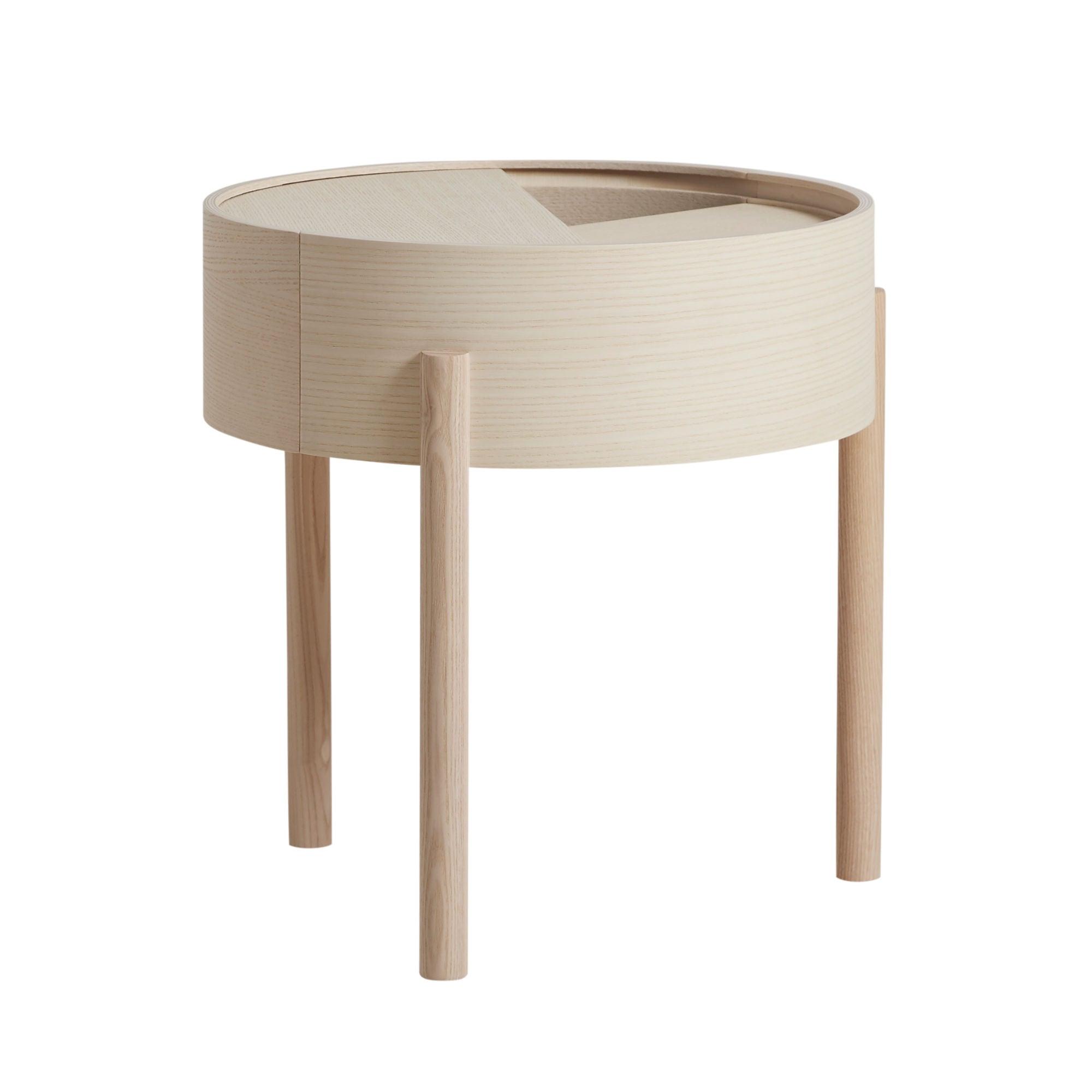 Woud Arc Side Table , White Pigmented Ash