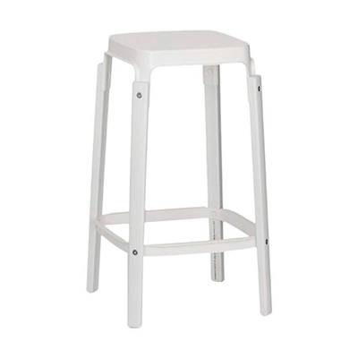 Magis Steelwood Bar Stool White . 68cm