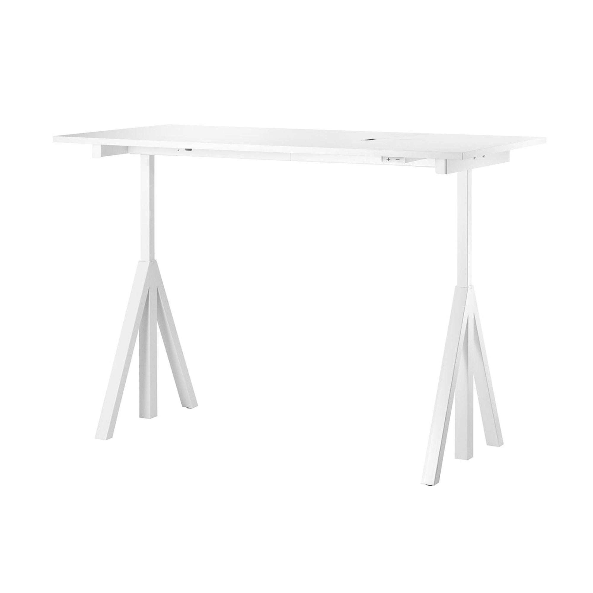 String Works™ Heigh-Adjustable Desk, White Laminate (120x78 cm)