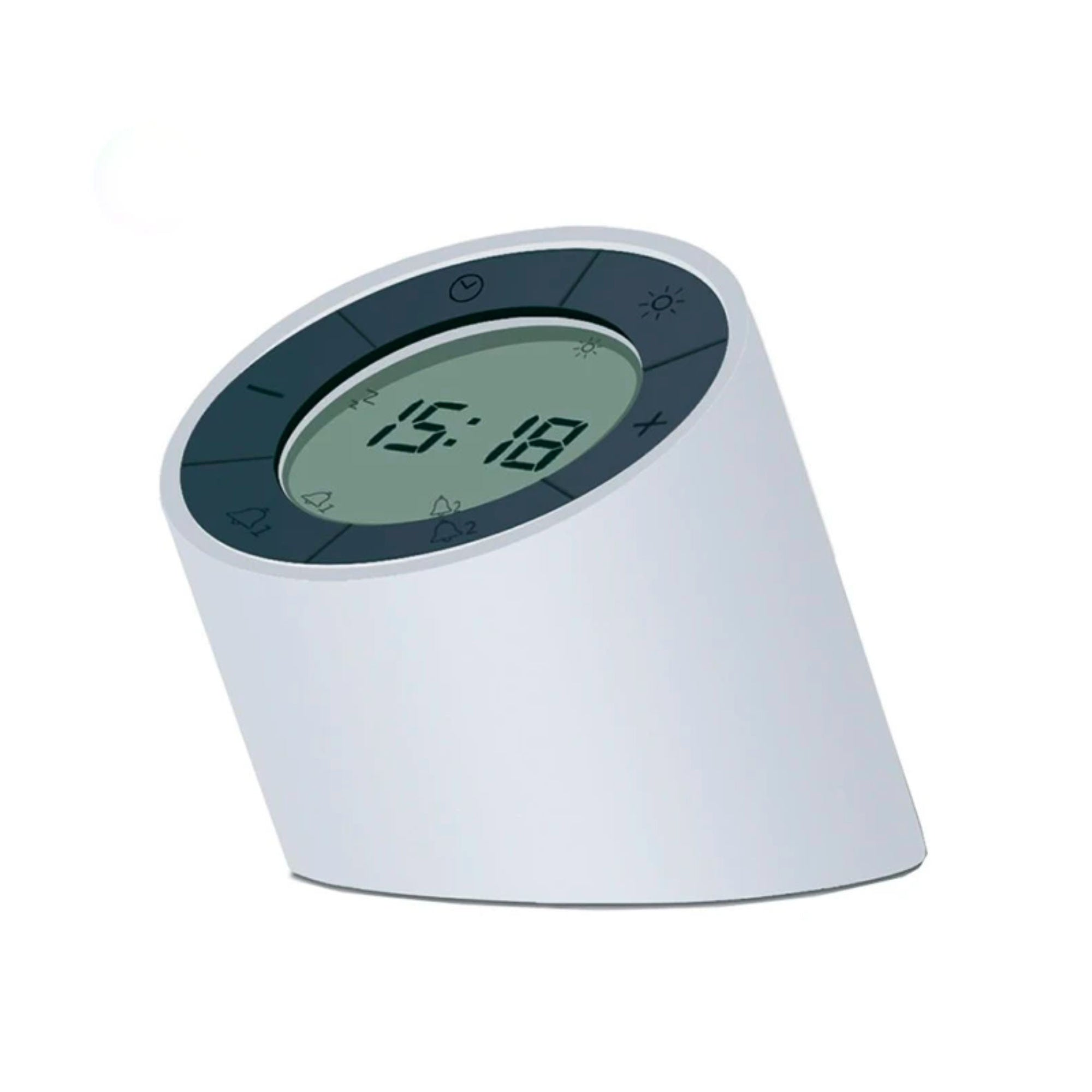 Gingko Edge alarm clock + night light, white
