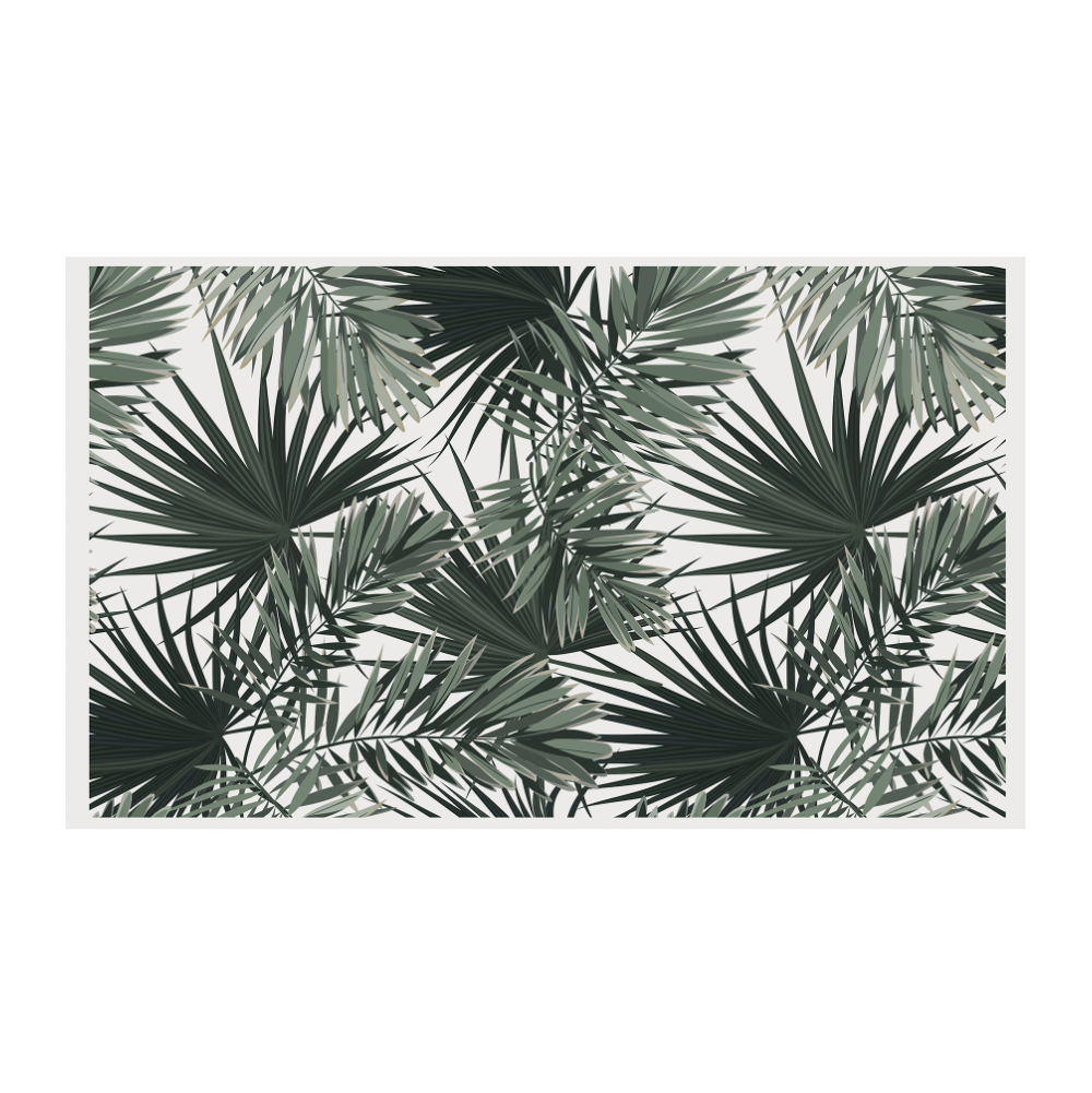 Podevache Vinyl floor mat, white palm leaves (66x99 cm)