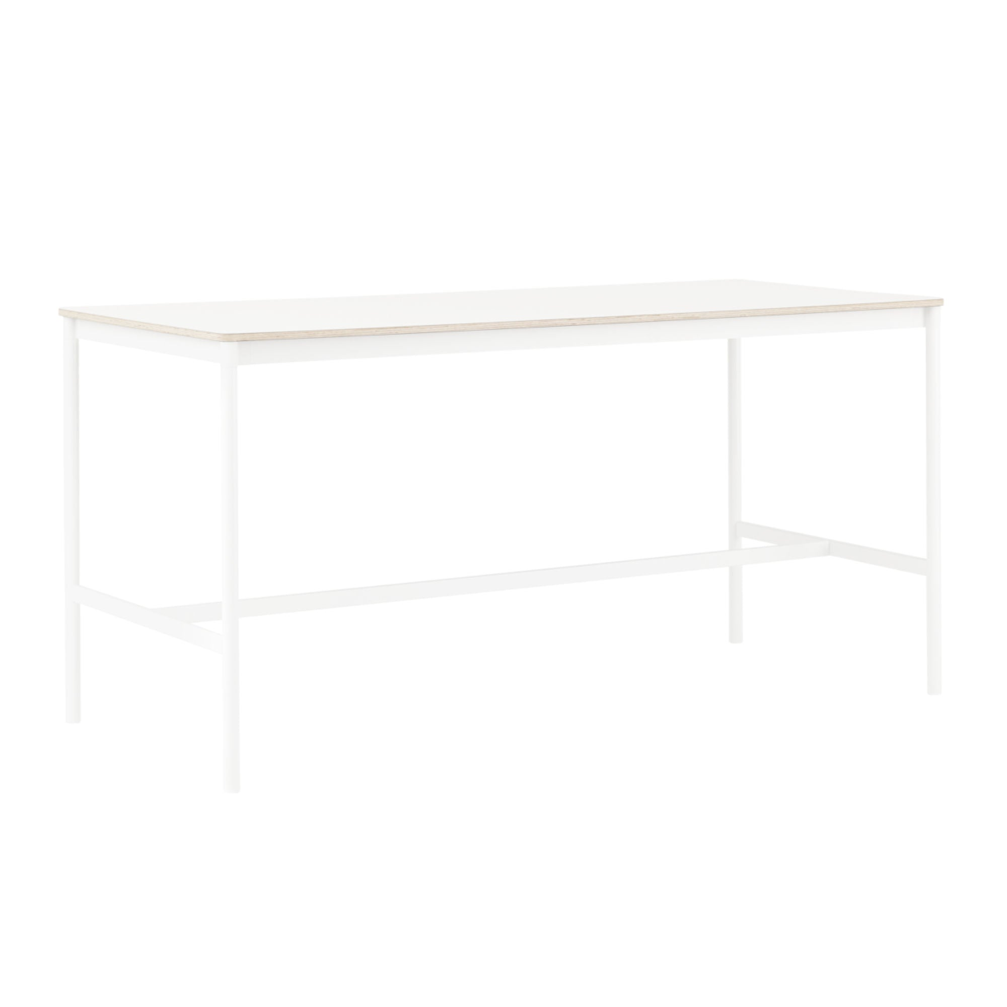 Muuto Base High Table 190x85 h:95cm , White Laminate/Plywood/White