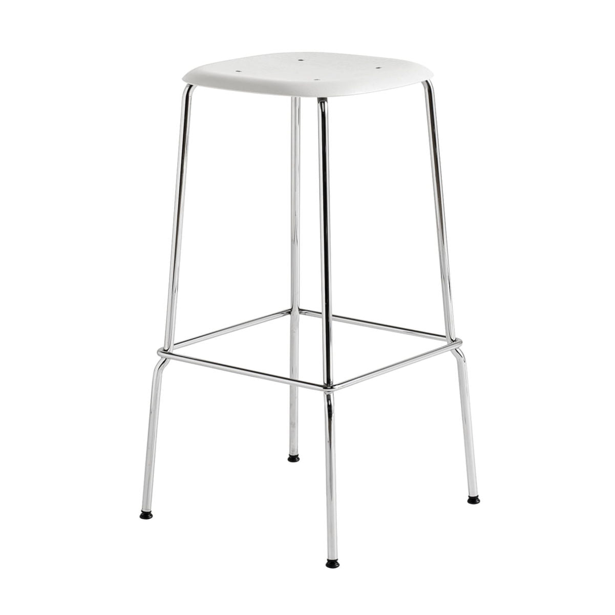 Hay Soft Edge P30 bar stool, white, chrome