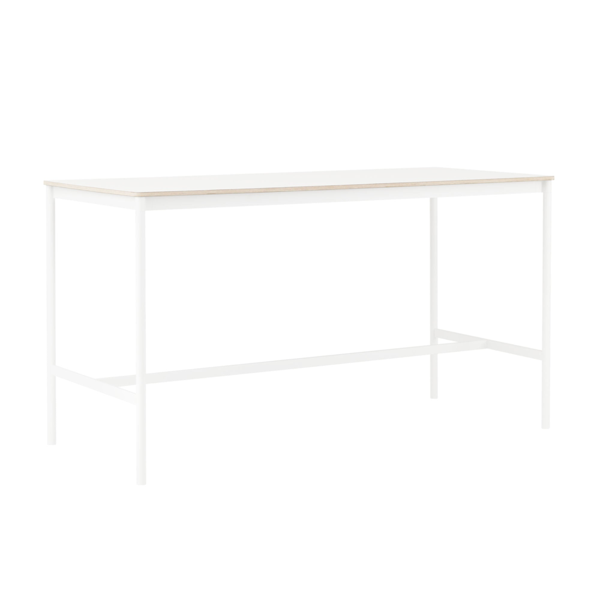 Muuto Base High Table 190x85 h:105cm , White Laminate/Plywood/White