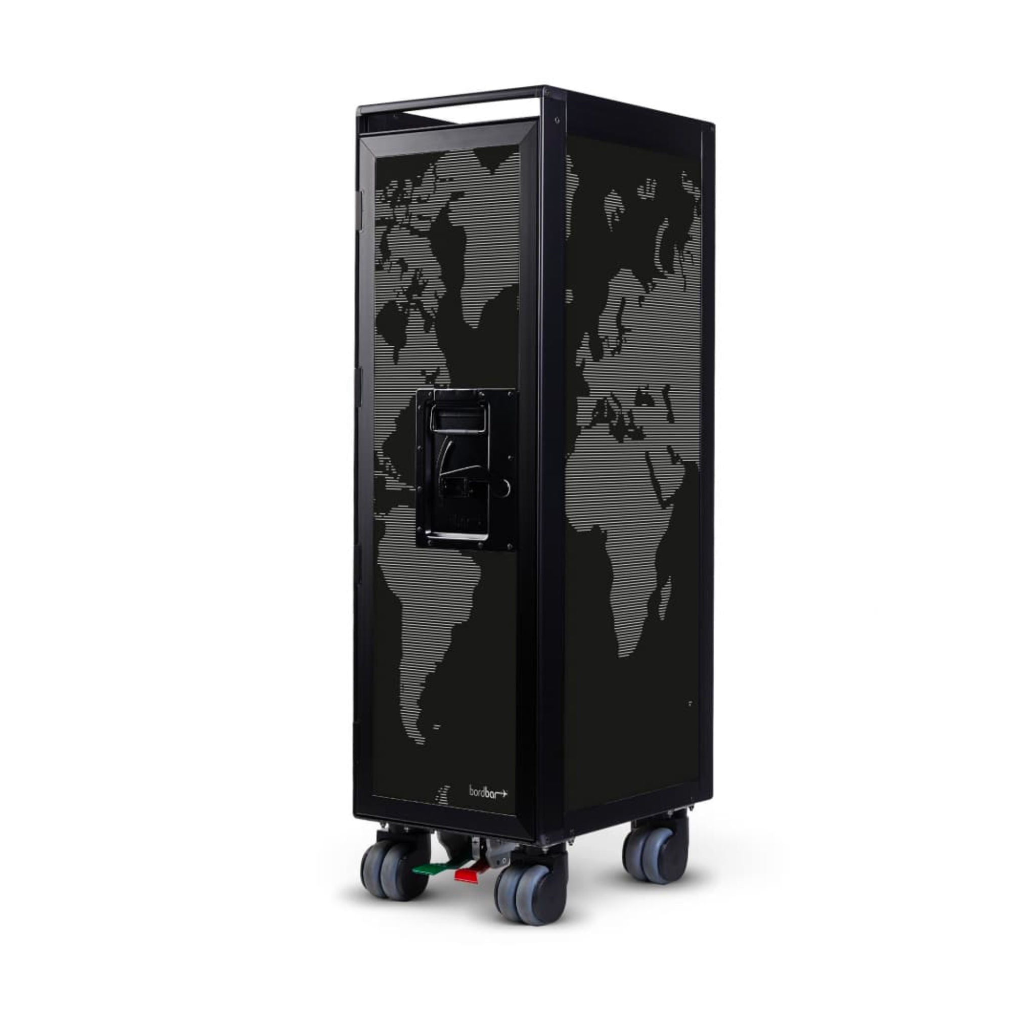 Bordbar Trolley Black w. World Map in Whitelines