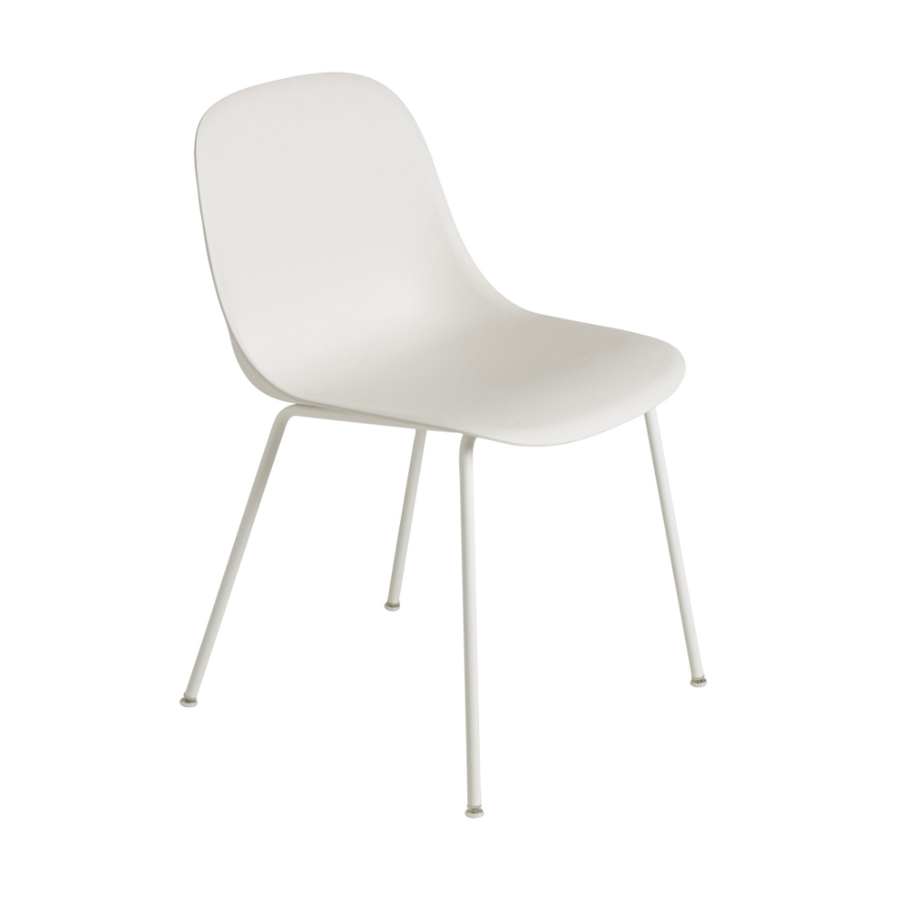 Muuto Tube Base Fiber side chair, white, white