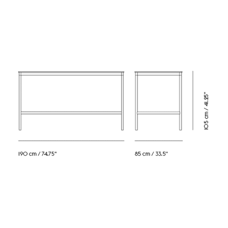 Muuto Base High Table 190x85 h:105cm , White Laminate/White ABS/White