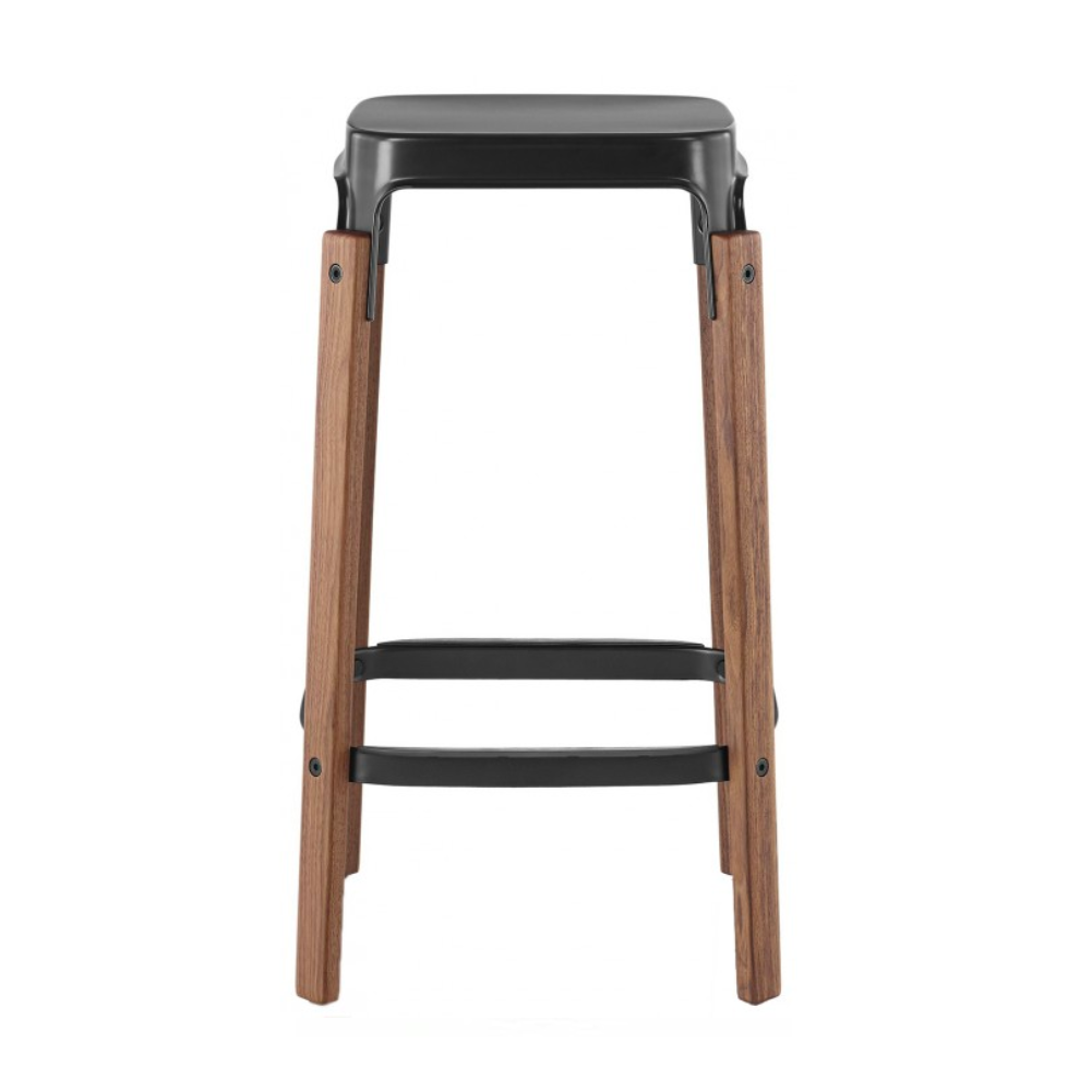 Magis Steelwood Bar Stool Walnut Black 78cm