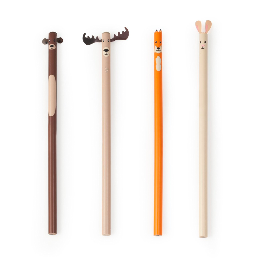 Kikkerland Woodland Pencil Set Of 4