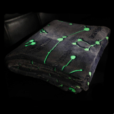 Glow In The Dark Plaid Blanket with Sleeves and Pocket
