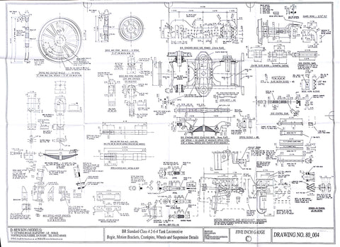 BR STD Class 4 Tank 80000: Wheels, Suspension details and Bogie Drawing