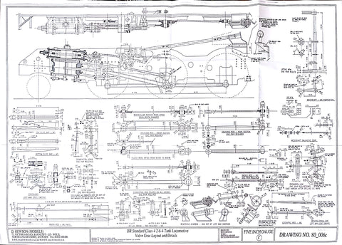 BR STD Class 4 Tank 80000: Valve Gear Layout and Details Drawing