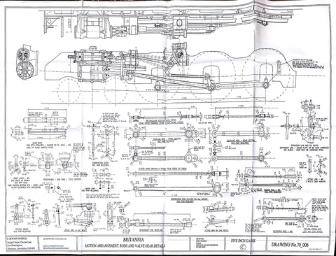 Britannia: Motion Arrangement, Rods, and Valve Gear Details Drawing