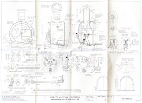 GWR 5700 Pannier Tank: Smokebox arrangement, Chimeny and Superheaters Drawing