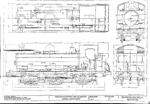 GWR 8750 Pannier Tank: General Arrangement Drawing