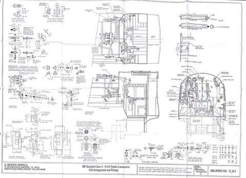 BR STD Class 4 Tender 75000: Cab layouts and Fittings Drawing