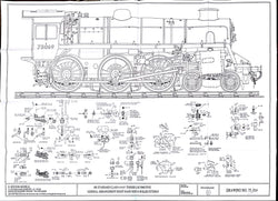 BR STD Class 4 Tender 75000: GA RH Side, and Boiler Fittings Drawing