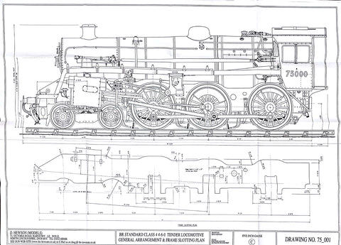 BR STD Class 4 Tender 75000: General Arrangement and Frame Slotting Plan Drawing