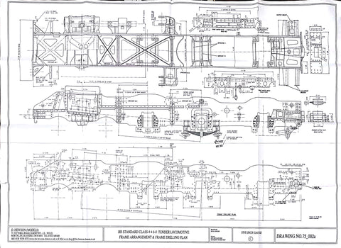 BR STD Class 4 Tender 75000: Frame Arrangement and Frame Plate Drilling Drawing