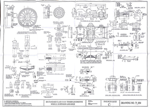 BR STD Class 4 Tender 75000: Wheels, Suspension details and Bogie Drawing