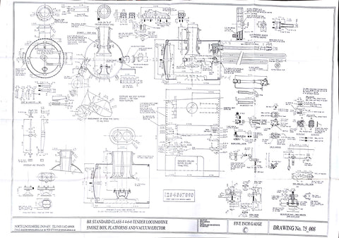 BR STD Class 4 Tender 75000: Smokebox, Platforms, and Vacuum Ejector Drawing