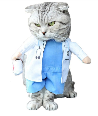 Cat Clothing Funny Doctor Costume -petshousehold