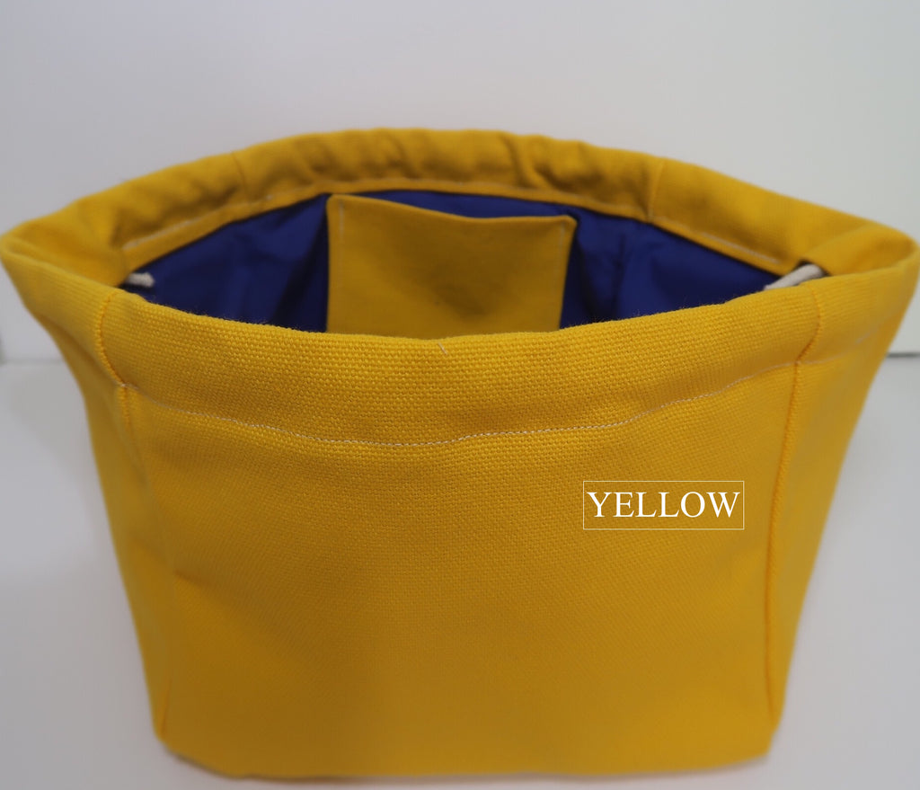Canvas Cube Knitting Project Bag with Pockets shown in with option to the main bag in Yellow than colour pockets added of your choice, large size for sweaters and blankets. Cube shaped drawstring bag