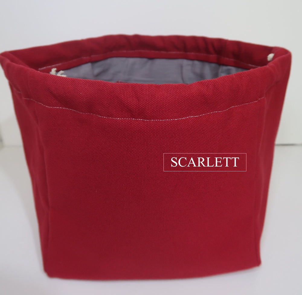 Canvas Cube Knitting Project Bag in Scarlett Colour, large size for sweaters and granny blankets. Cube shaped drawstring bag shown front on and standing upright