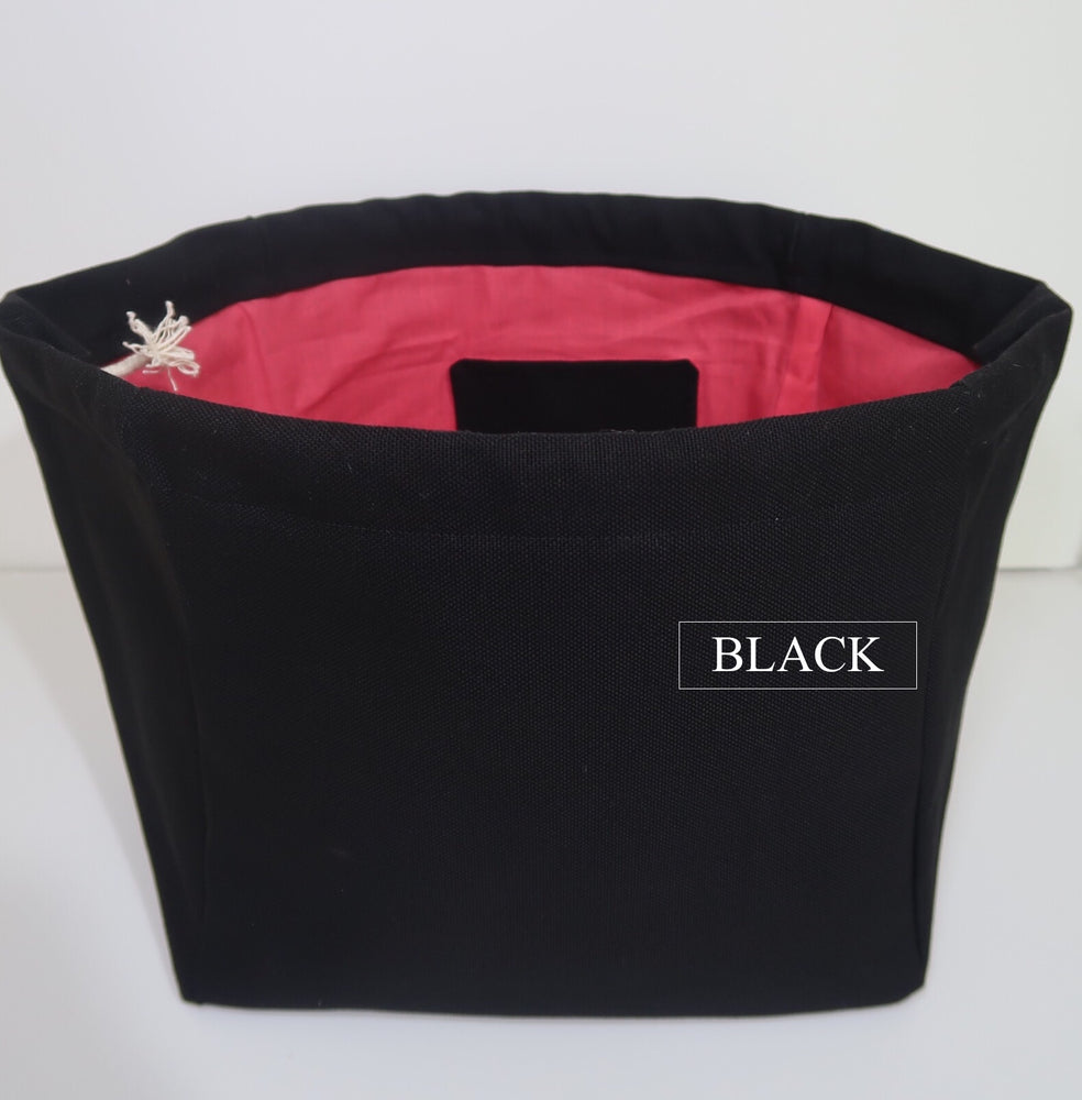 Canvas Cube Knitting Project Bag in Black Colour, large size for sweaters and granny blankets. Cube shaped drawstring bag shown front on and standing upright