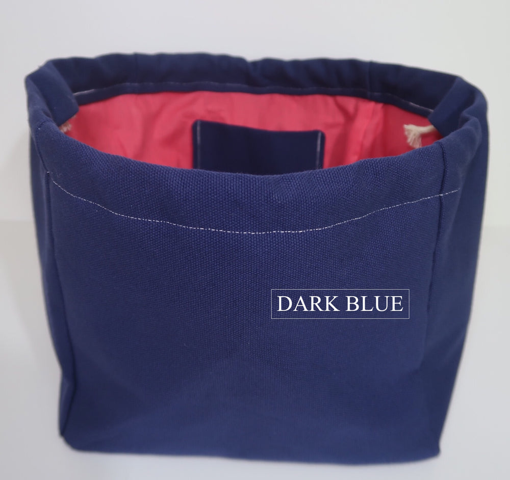 Canvas Cube Knitting Project Bag in Dark Blue Colour, large size for sweaters and granny blankets. Cube shaped drawstring bag shown front on and standing upright