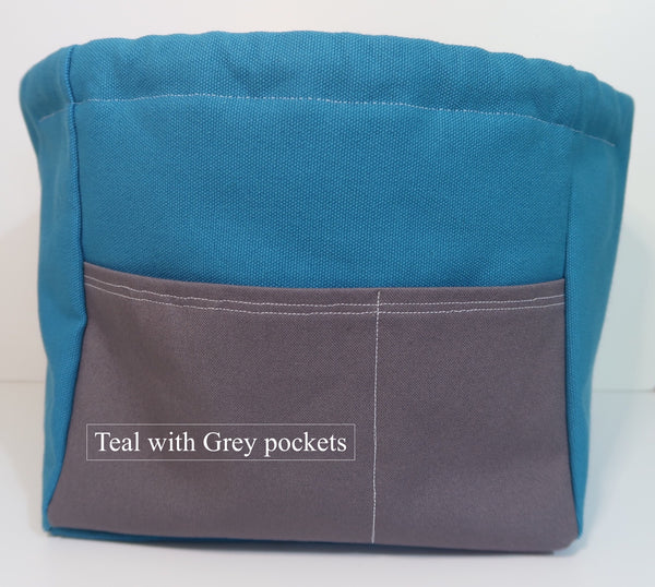 Canvas Cube Knitting Project Bag with Pockets shown in Teal with Grey pockets, large size for sweaters and blankets. Cube shaped drawstring bag