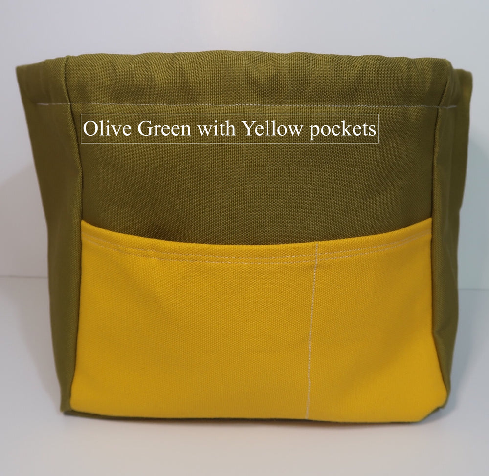 Canvas Cube Knitting Project Bag with Pockets in Olive green with yellow pockets, large size for sweaters and blankets. Cube shaped drawstring bag,